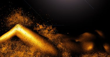 picture of woman with gold explosions who may rub one out