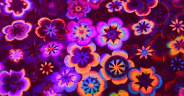 construction paper with hologram flowers