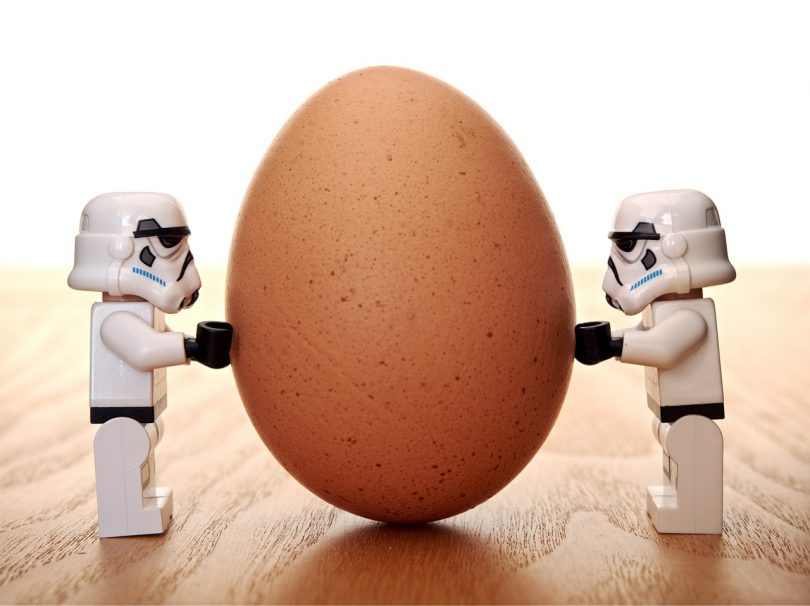 stormtroopers holding up an egg for balance
