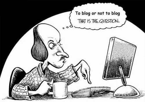Shakespeare staring at his laptop thinking to blog or not to blog that is the question