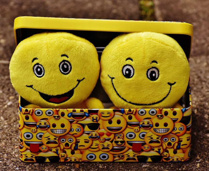 two smiley face emoji stuffed animals saying we are fine