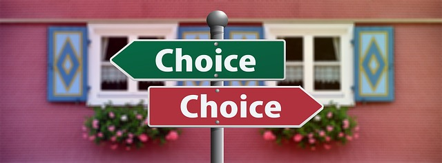 signs for two opposing choices and no regrets