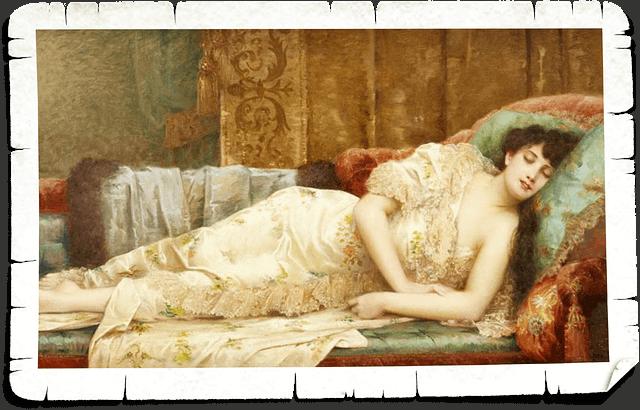 vintage picture of woman in deep sleep
