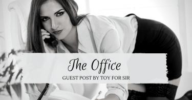 Guest post by Toy For Sir called The Office -- image of sexy woman talking on phone, bent over her desk.