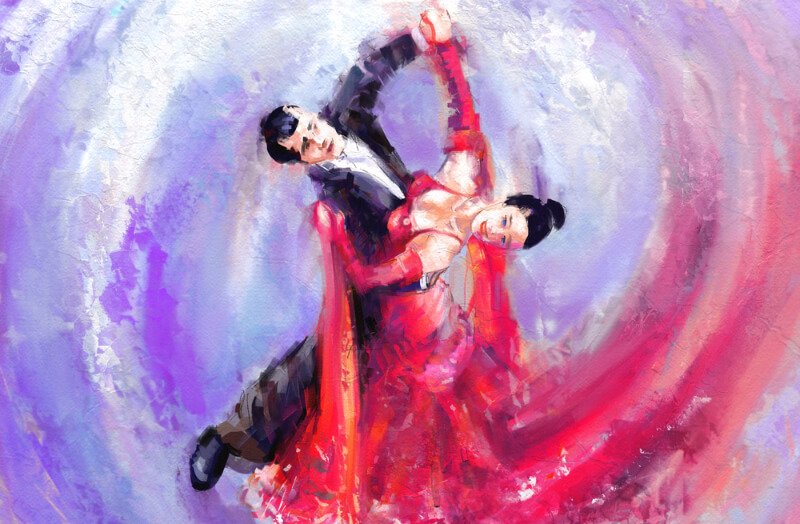 painting of a man and woman dancing a waltz, a closeness that reminds me of the dance of a sensual and sensory fuck