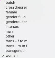 list of possible gender options for Swingtown registration