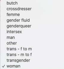 list of possible gender options for Swingtown registration