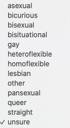 list of sexuality identity options for Swingtown registration