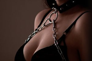 image of woman with collar on neck and chain hanging from O-ring on collar